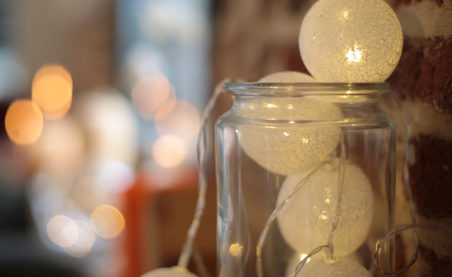 guirlande lumineuse LED boules coton