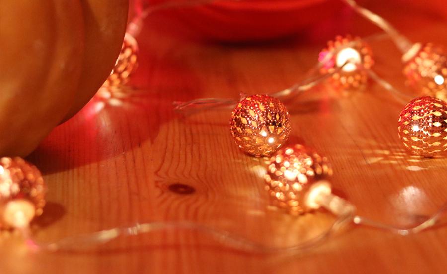 guirlande LED cuivre boules marocaines