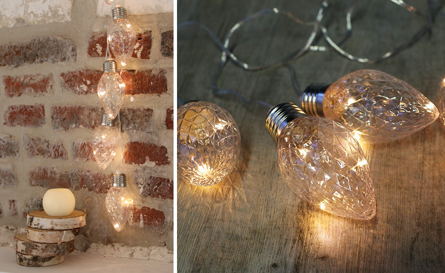 suspensions guirlande vintage mur - décoration lumineuse
