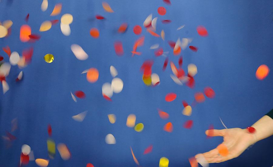 lâcher de confettis