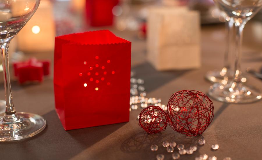 sac lumineux lanterne de table rouge
