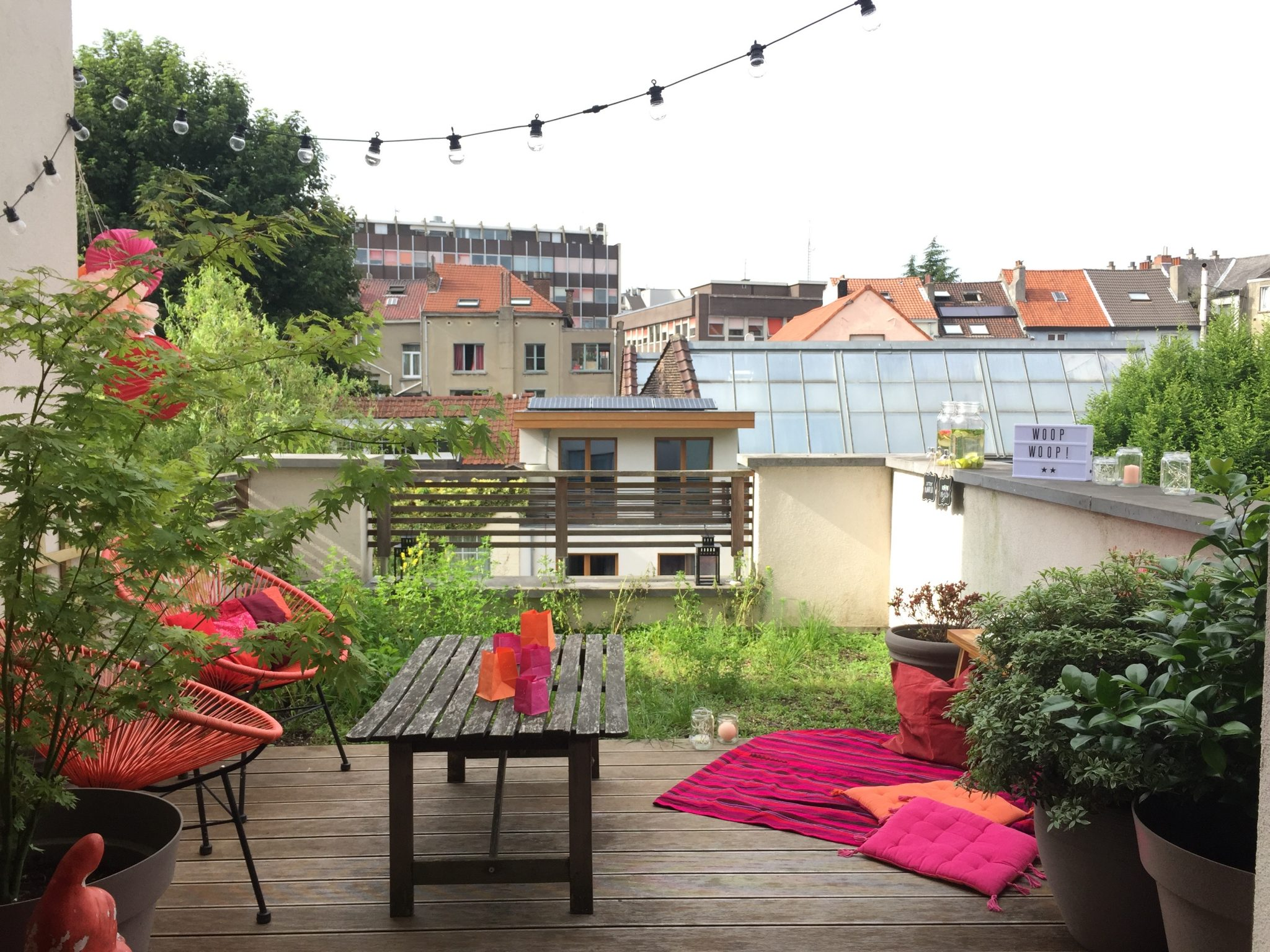 deco outdoor terrasse boheme rose orange corail