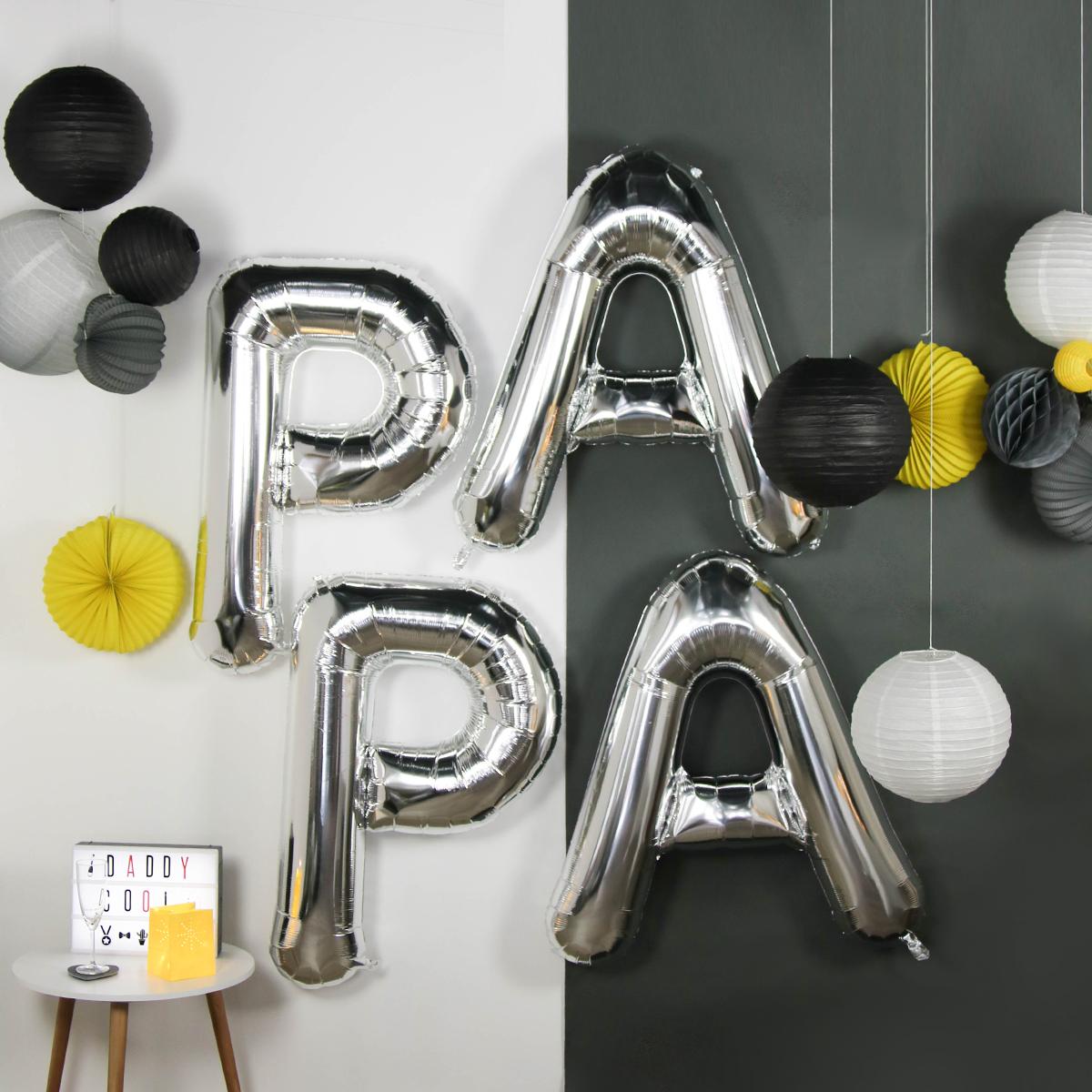 ballons lettres fete des peres papa argent grand