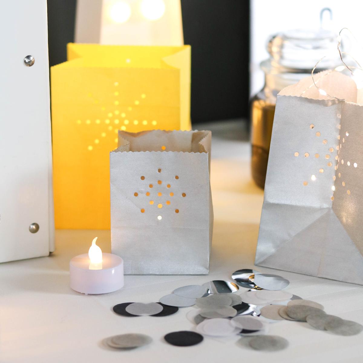 sac lumineux photophore papier gris argent
