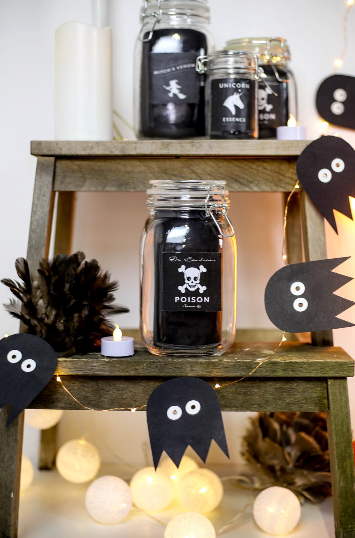 bocal verre diy halloween étiquettes decoration