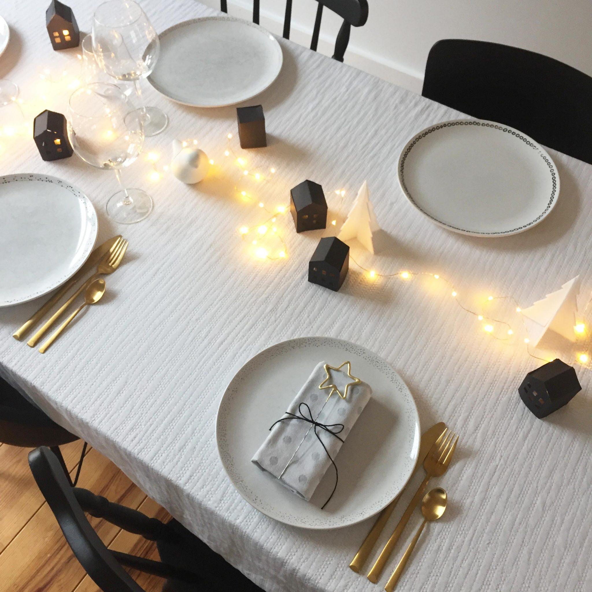 pierre papier ciseaux décoration table fêtes noel