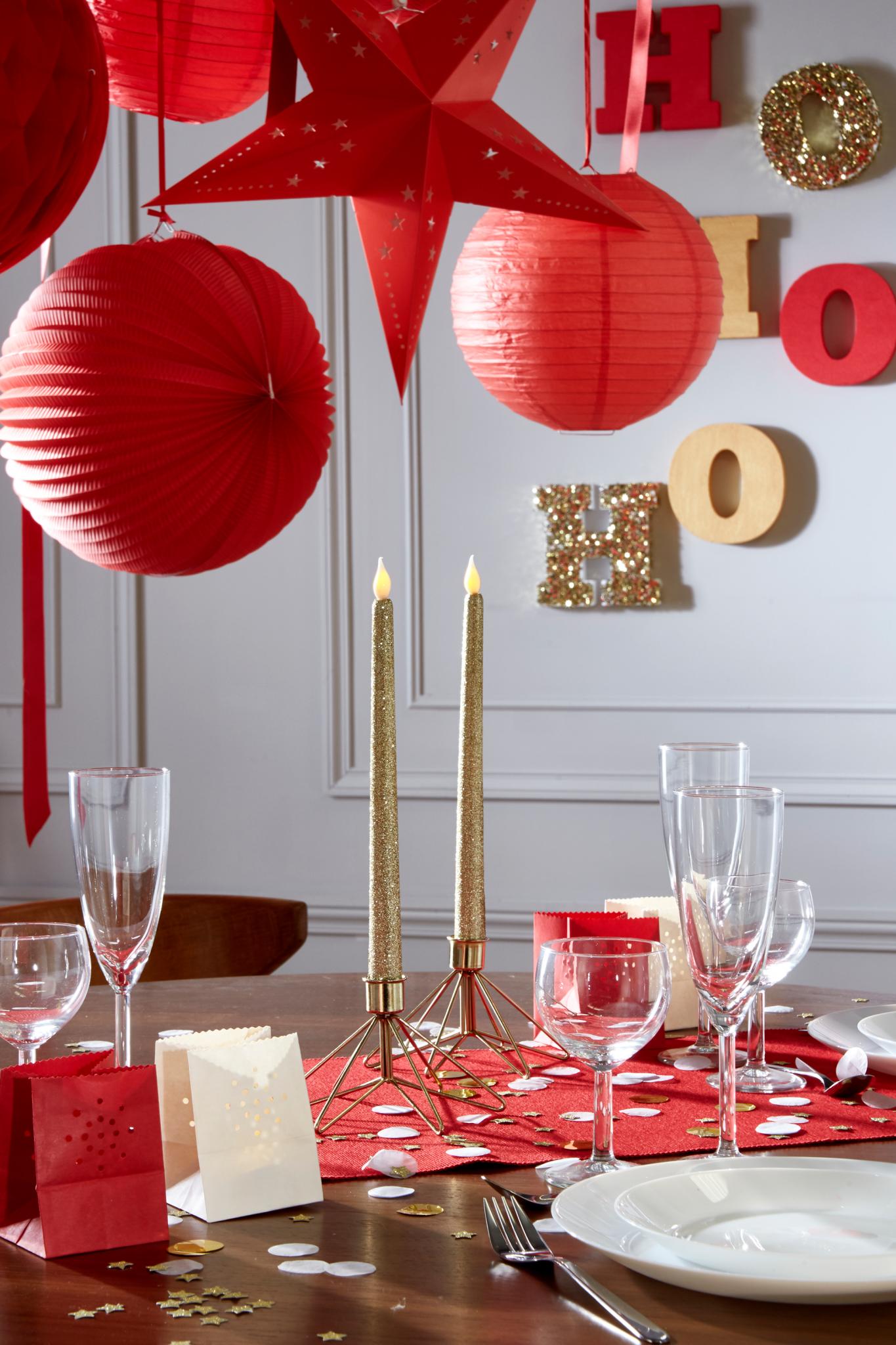 decoration fêtes noel or rouge 2017