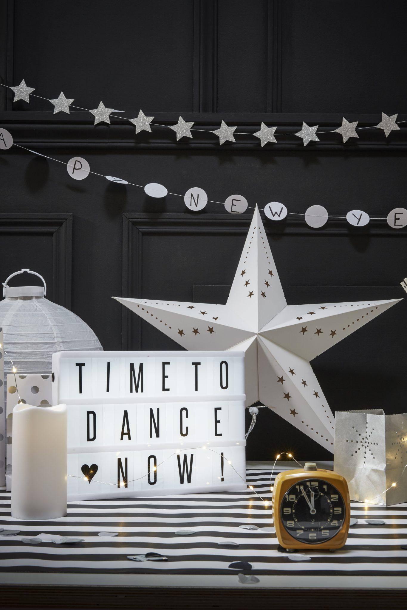 lightbox déco nouvel an saint sylvestre noir blanc idées inspiration
