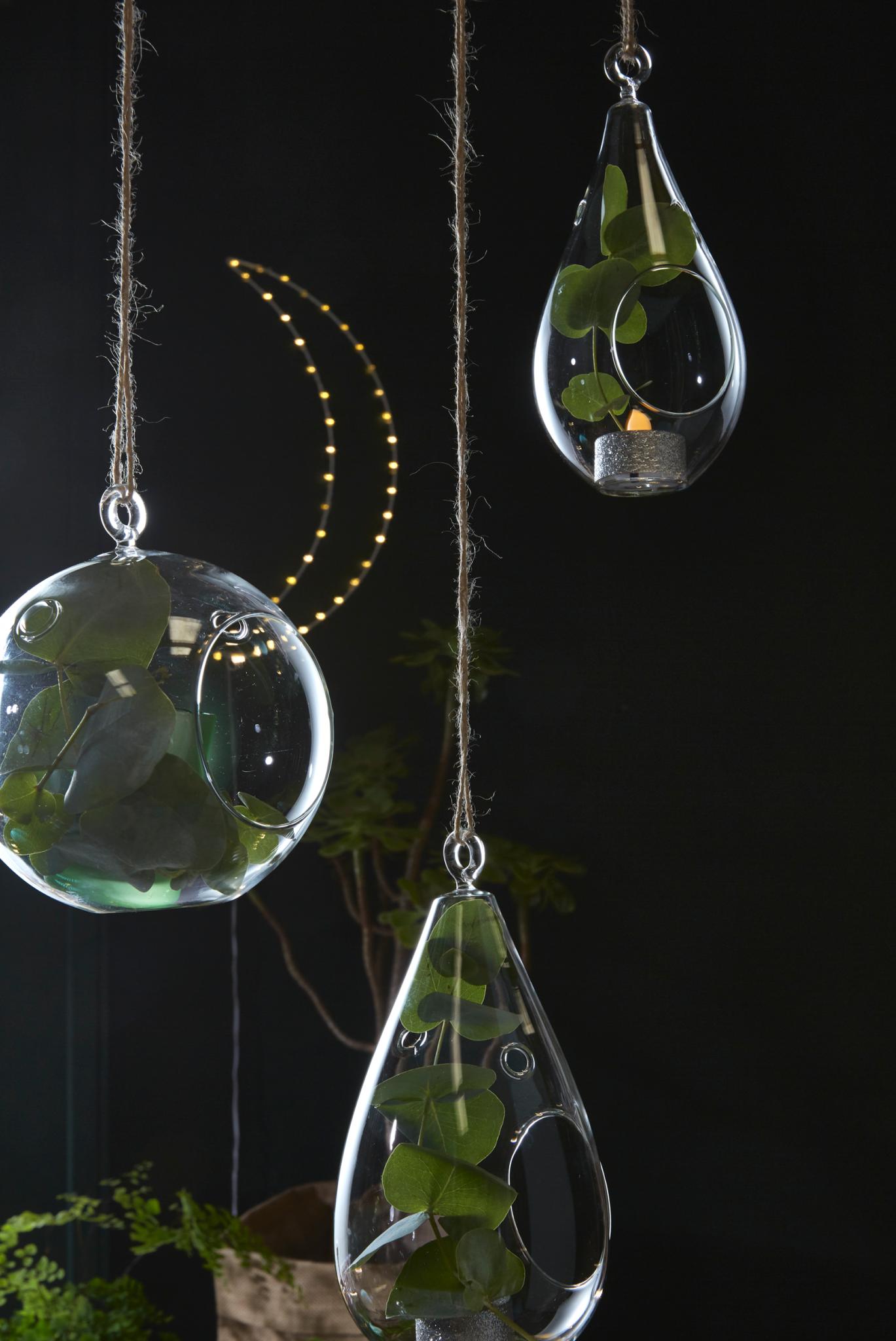 décoration noel gouttes verre eucalyptus vert