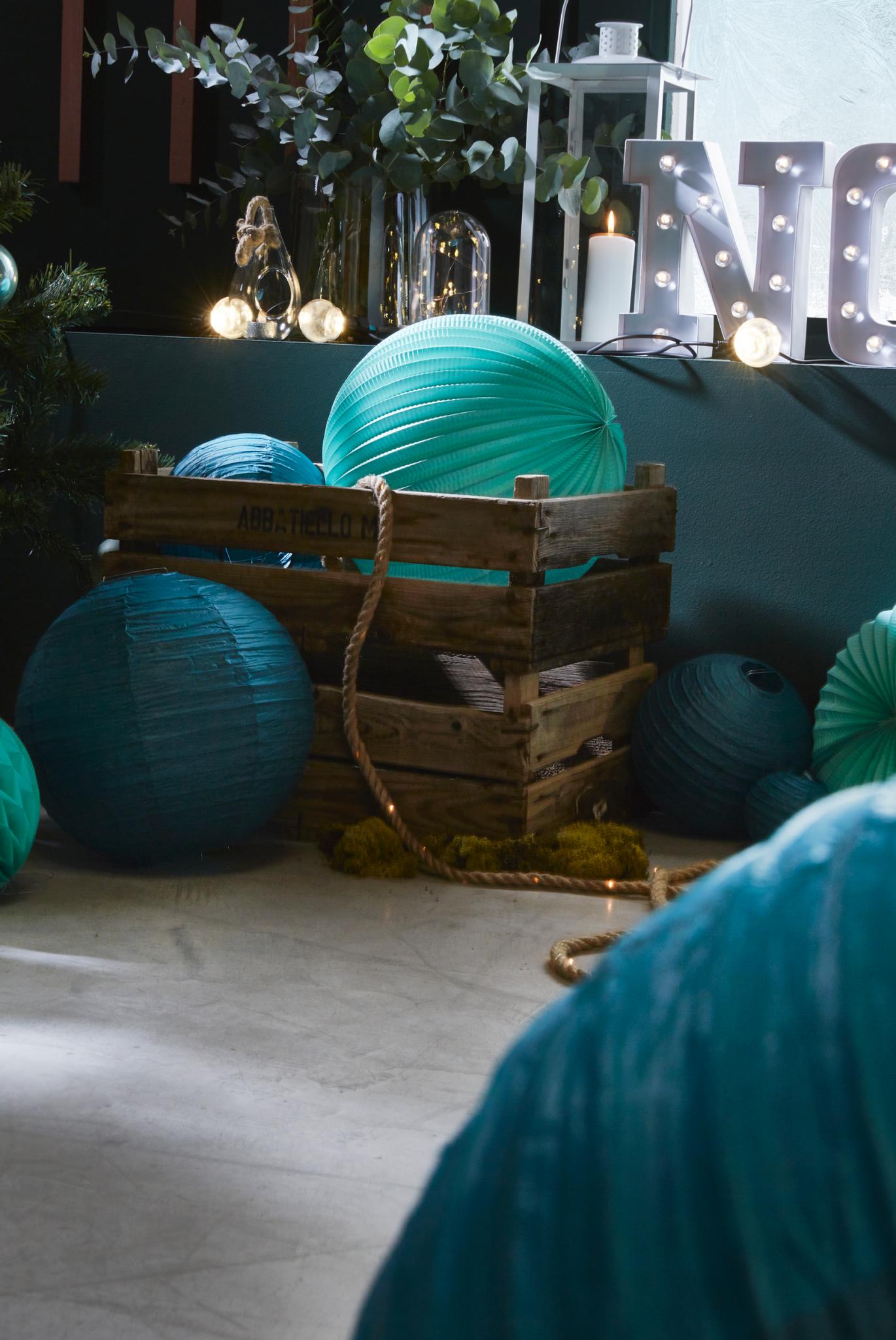 décoration de noel vert bleu bois tendance 2018 2017