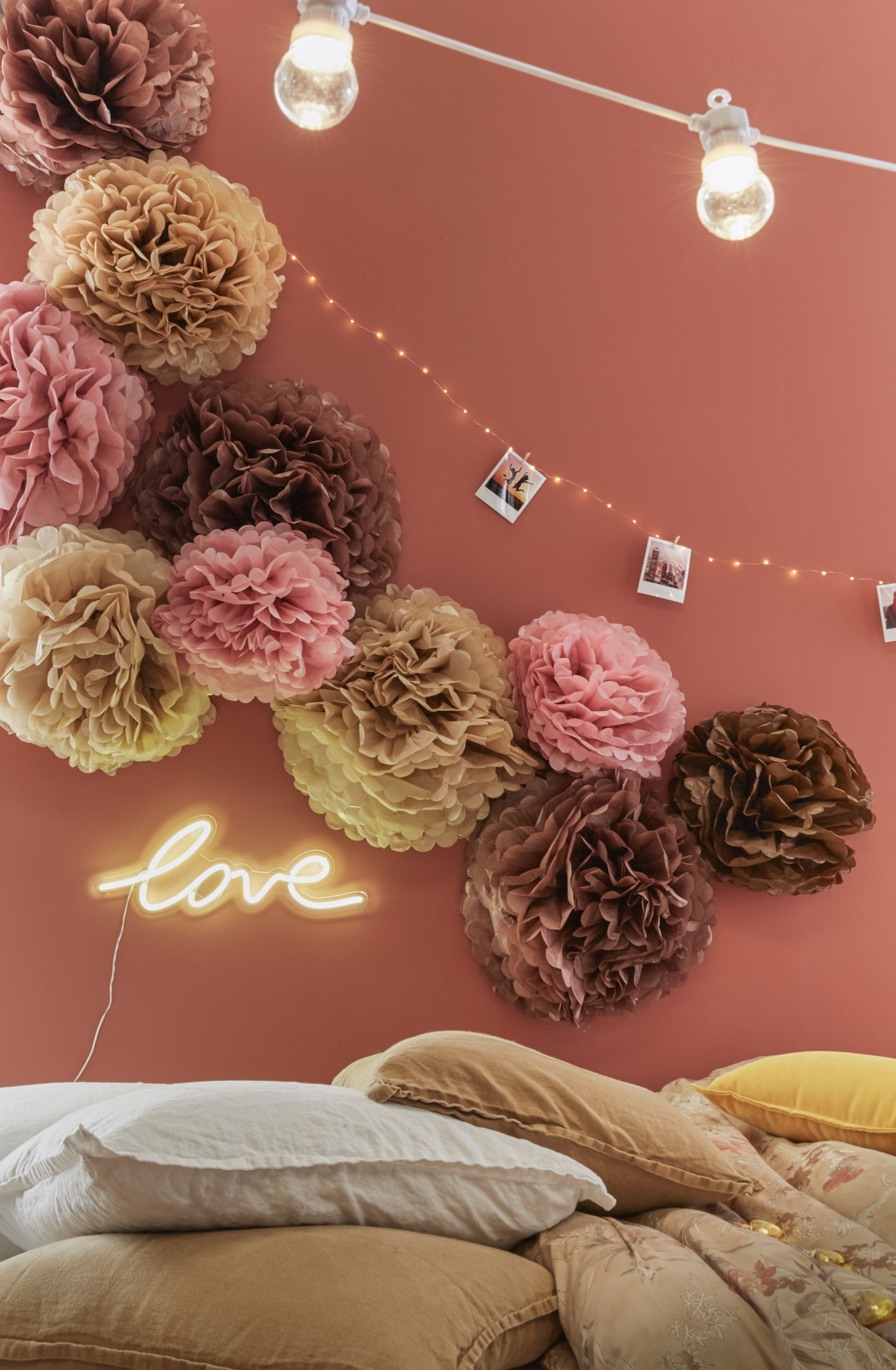pompons saint valentin décoration tendances couleurs 2018 chambre intérieur