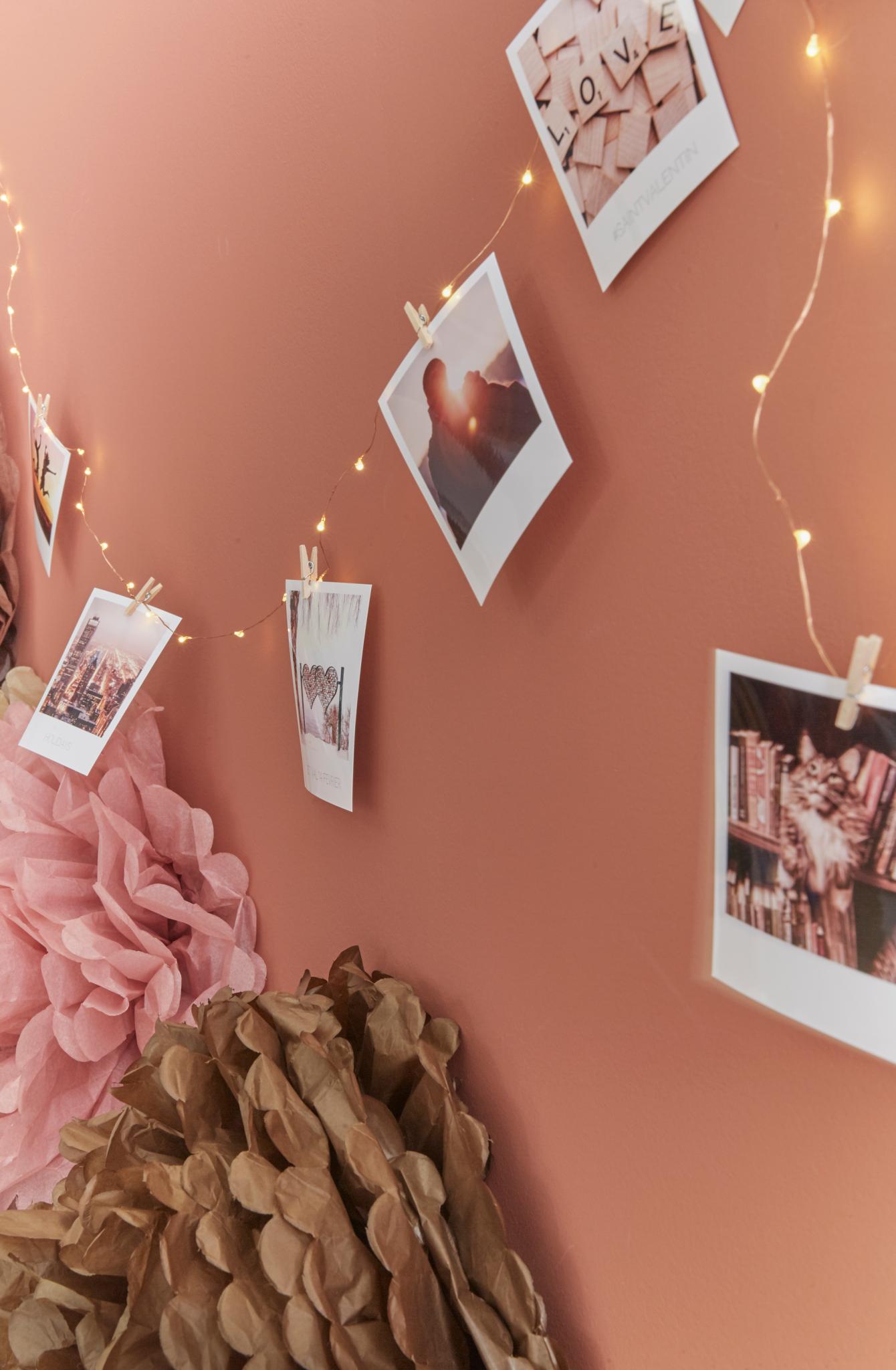 décoration diy saint valentin polaroids guirlande pinces à linge