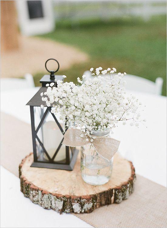 gypsophile fleurs blanches mariage champêtre idées déco rondin