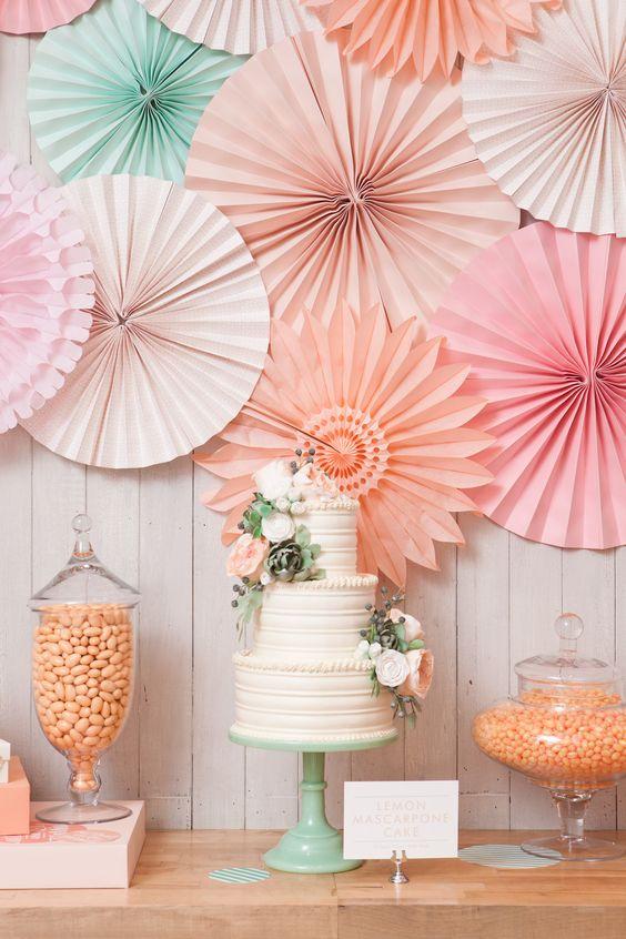 rosaces candy bar pastel déco mariage 2018