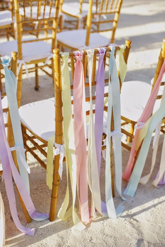 rubans chaise décoration tendznce mariage 2018 pastel