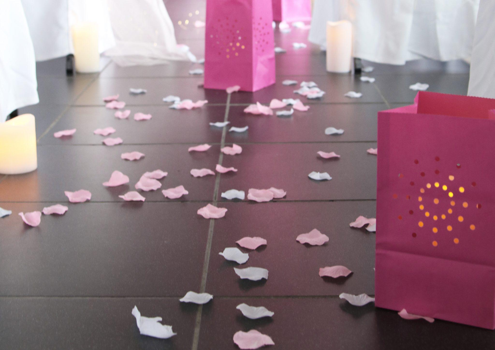 pétales rose ceremonie mariage rose