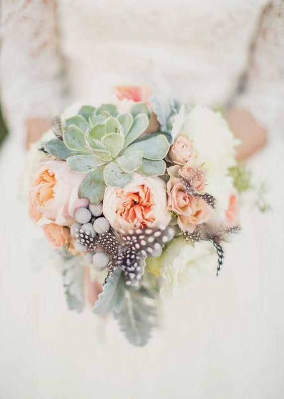 bouquet fleurs mariage couleur 2019 succulente pivoine peche conseils
