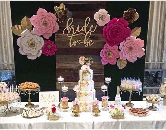 candy bar mariage gateau fleurs papier tendance deco 2019