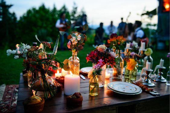 decoration mariage 2019 idées tendance folk fleurs exterieur bougies