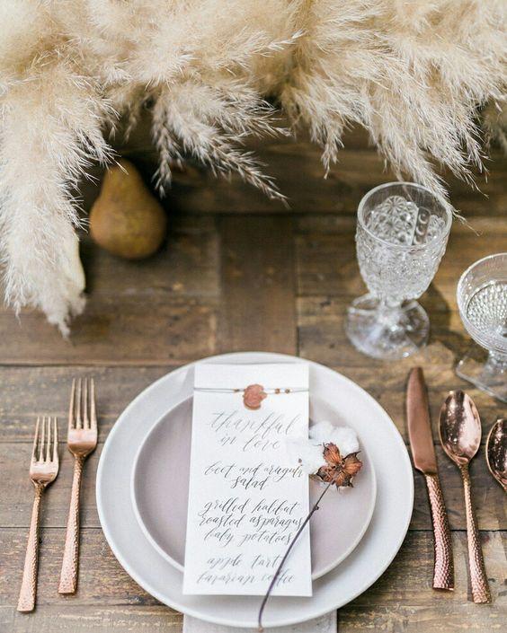 decoration table roseaux plume mariage champetre 2019 tendances