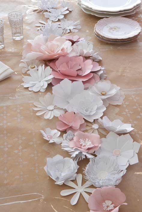 fleurs papier table chemin centre mariage