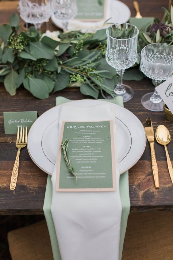 vert sauge decoration mariage 2019 tendances